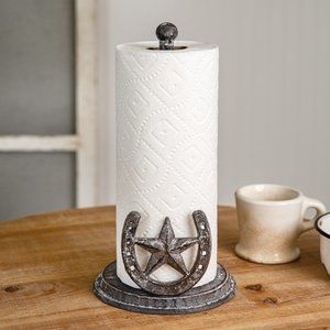 Cast Iron Horseshoe Star Paper Towel Holder